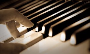 music piano hand stock image