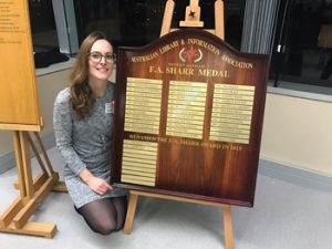 Sophie Farrar received the 2016 F. A. Sharr Award for her contribution to her profession as a librarian. Image credit: Notre Dame
