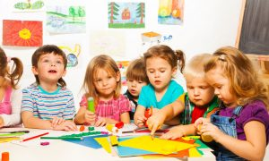 kindergarten kids stock image