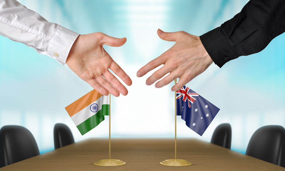india australia deal stock image