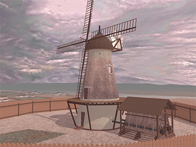 View of the reconstructed windmill. Image courtesy of UQ
