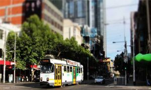 Melbourne intersection and tram