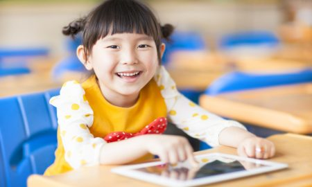 child ipad tablet stock image