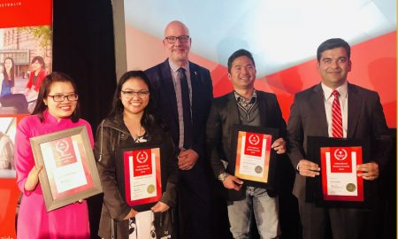 Pro Vice-Chancellor (International) Sebastian Raneskold, with students (L-R) Nguyen Thi Thanh Thien, January Dechavez, June Hezi Romansyah and Himal Kandel. Image courtesy of Flinders University
