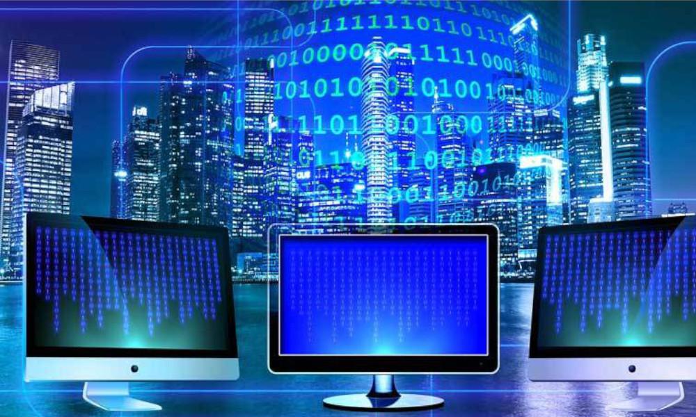 data monitors cityscape