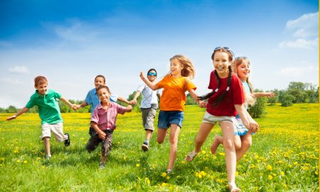 kids outside stock image
