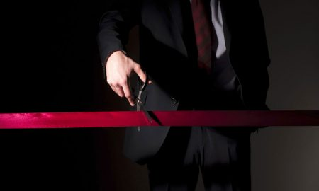 ribbon cutting red tape cut stock image