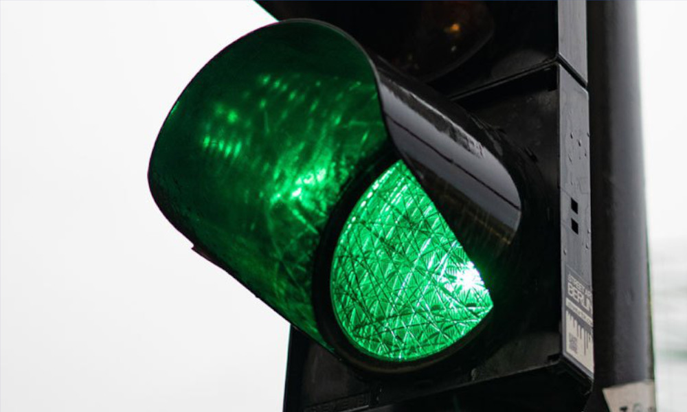 green traffic light stock image