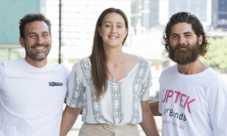 L-R Clinton Schultz (Sobah), Emma Sommerville (Folktribe) and Joseph Marcus (UPTEK). Image courtesy of Bond University