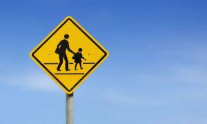 school zone stock image