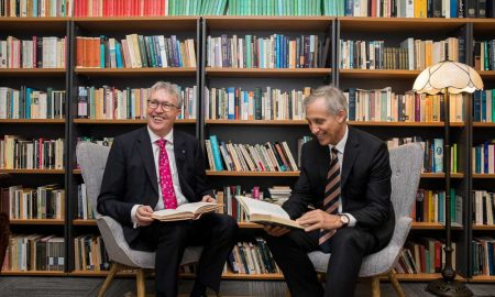 UOW Vice-Chancellor, Professor Paul Wellings CBE (left) with Ramsay Centre for Western Civilisation CEO, Professor Simon Haines
