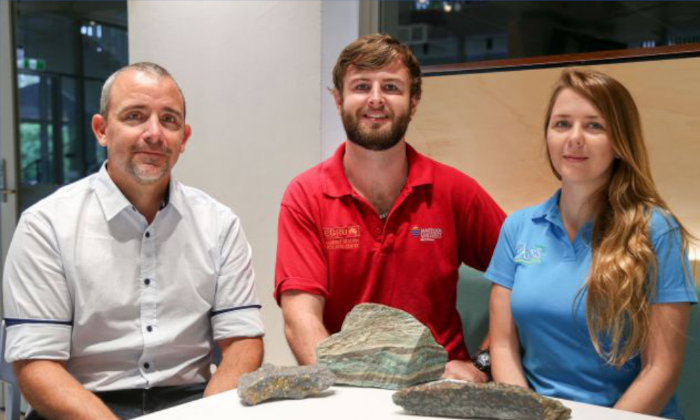 L-R: Head of Geosciences Associate Professor Eric Roberts, PhD student Christopher Yule, PhD student Tegan Beveridge.