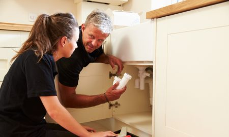 plumbing apprentice stock image