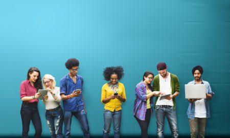 students using technology stock image