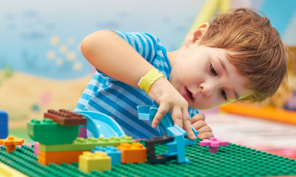toddler blocks education early learning stock image