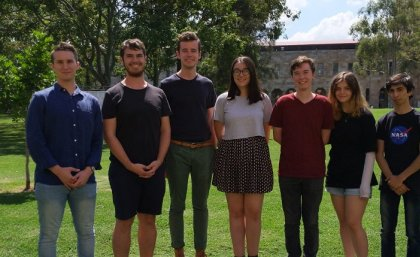 UQ and Australia's IPT 2019 team, featuring (L-R) Bailey Carthouser, Andrew Penton, Shaun McAnally, Brigid Wilson, Chris Chang, Tamera Summerill and Ahmad Mohit.