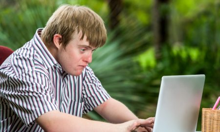 down syndrome student stock image