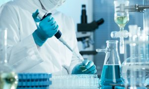 researcher in lab stock image