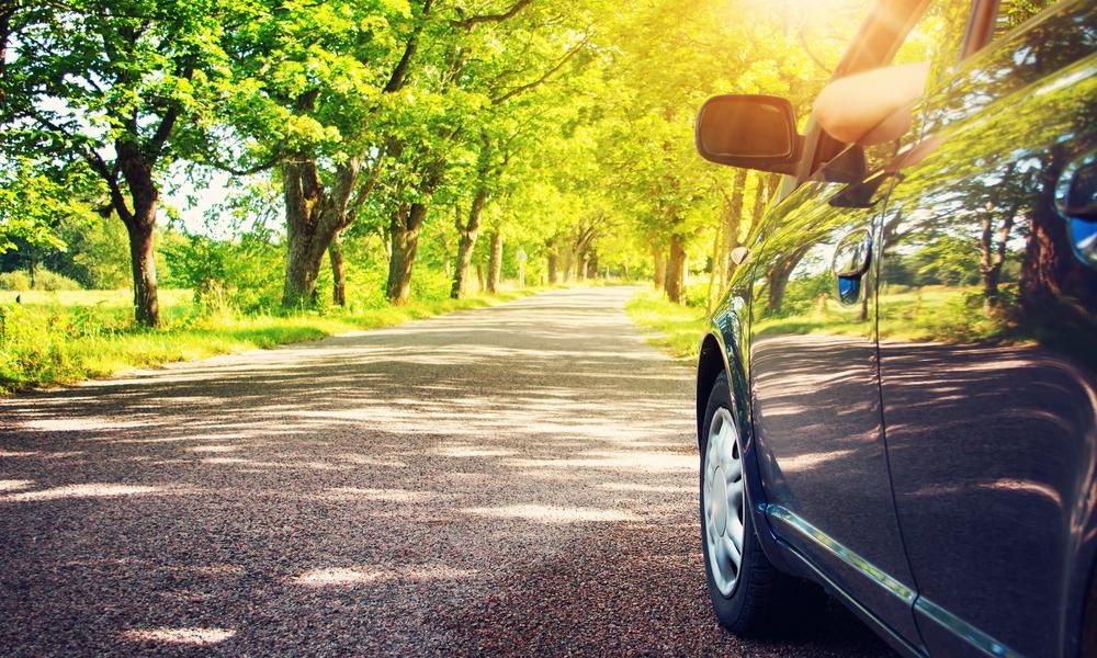 car on asphalt road stock image