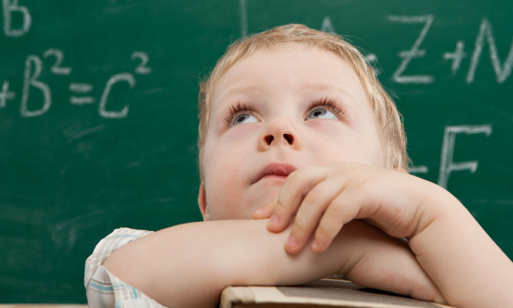 child looks up stock image