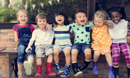 kindergarten 2 kids stock image
