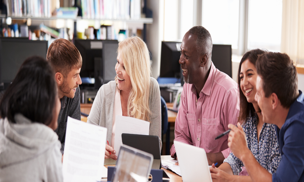students adult education stock image