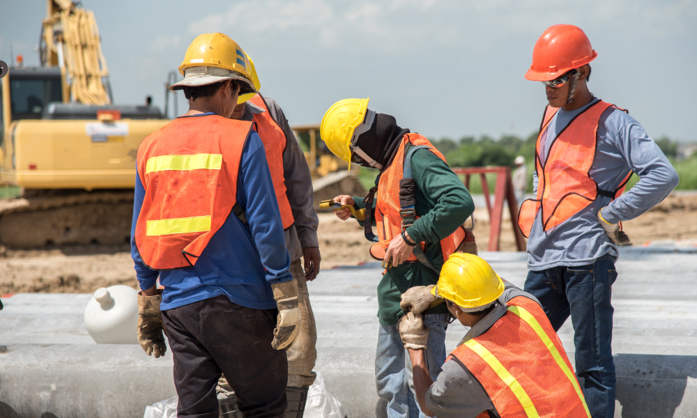mining workers stock image