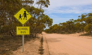 rural school zone stock image