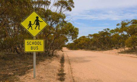 rural school zone stock image