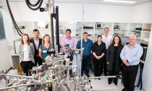 Members of the Flinders Microscopy and Microanalysis team, left to right: Aoife Mcfadden, Dr Egon Perilli, Dr Jen Fendler, Associate Professor Martin Johnston, Dr Chris Gibson, Pat Vilimas, Dr Benjamin Chambers, Associate Professor Sarah Harmer and Professor Jamie Quinton (not pictured: NanoScience Institute Professor Gunther Andersson).