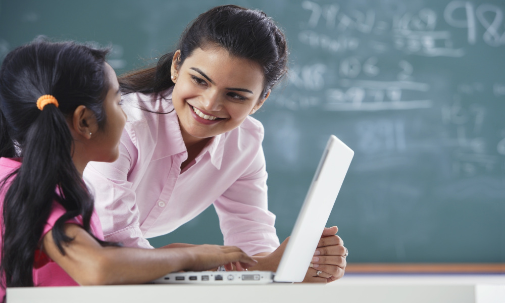 teacher student stock image