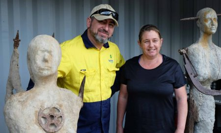 Image: (Left to right) Lismore City Council's Revolve Shop Manager Met Uritir and Advanced Diploma of Visual Art student, at Lismore TAFE, Naomi Mikkelsen.