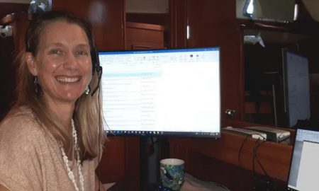 Kate-Mackay-working-from-her-boat-home