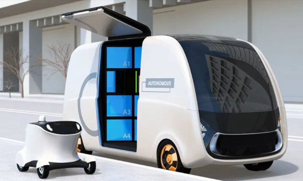 Self-driving-delivery-van-and-drone