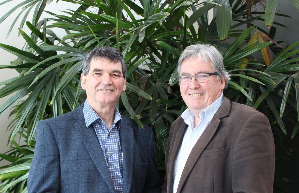 Steve McCutcheon (Chair, Plant Health Australia) and Greg Fraser (outgoing Executive Director and CEO, Plant Health Australia). Credit: Plant Health Australia