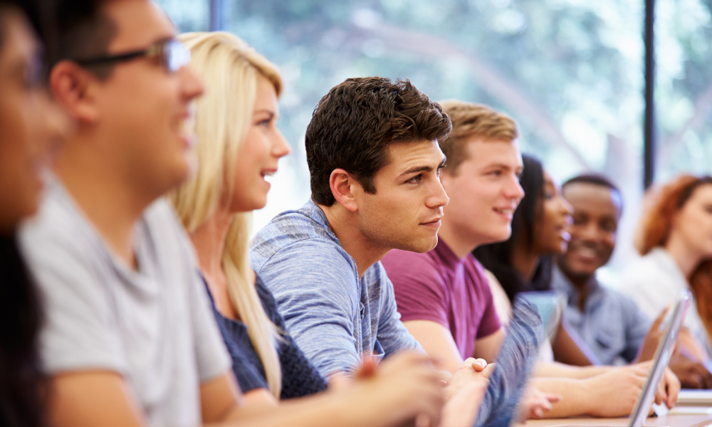 university students laptops lecture stock image