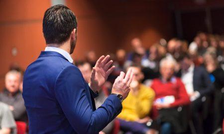 speaker business event stock image