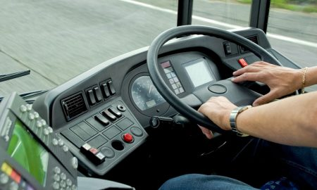 bus drive stock image