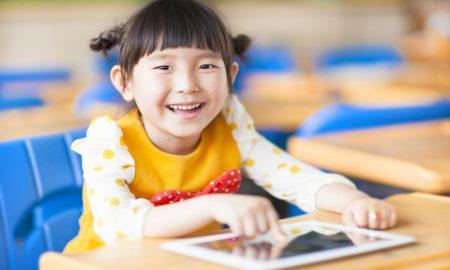 child ipad tablet stock image