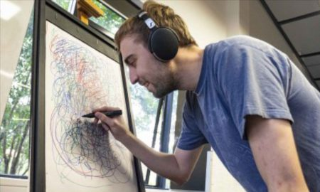Student Luke Giuseppin working on 'Chroma' for the exhibit.