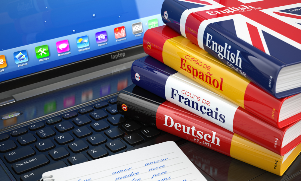 language learning stock image