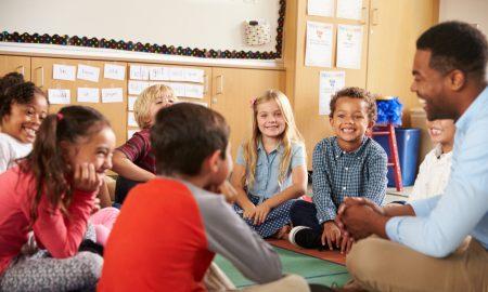 teacher children primary stock image