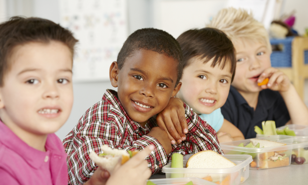 students eating stock image
