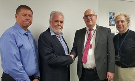 Sonnant reps Paul Crump and Arnie Tuchtan with Dr Andrew Roberts and Professor Julian Tiecher from CQUni
